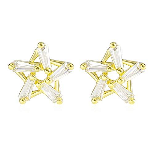 Beydodo Pendientes Estrella Cristal Pendiente Cobre Mujer Oro