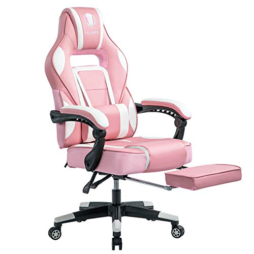 KILLABEE Reclining Gaming Chair, High-Back Massage PU Leather Swivel PC Racing Computer Office Desk Chair with Pull-Out Footrest Adjustable Lumbar Support, Pink