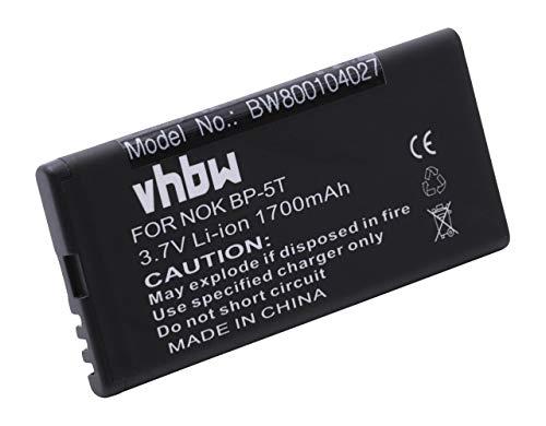 vhbw Li-Ion Akku 1650mAh (3.7V) passend für Handy Smartphone Telefon Nokia Arrow, Lumia 820, Lumia 820.2, Lumia 825 ersetzt Nokia BP-5T.