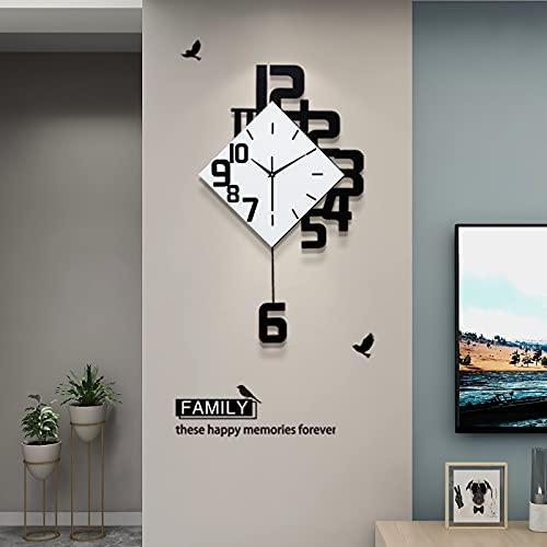 FLEBLE Large Wall Clocks for Living Room Decor Pendulum Wall Clocks Silent Irregular Digital Fashion...
