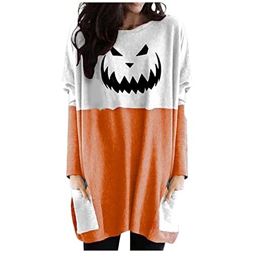 Lenfeshing Disfraz de Camisa de Calabaza para Mujer Tops de Bolsillo de Manga Larga de Halloween