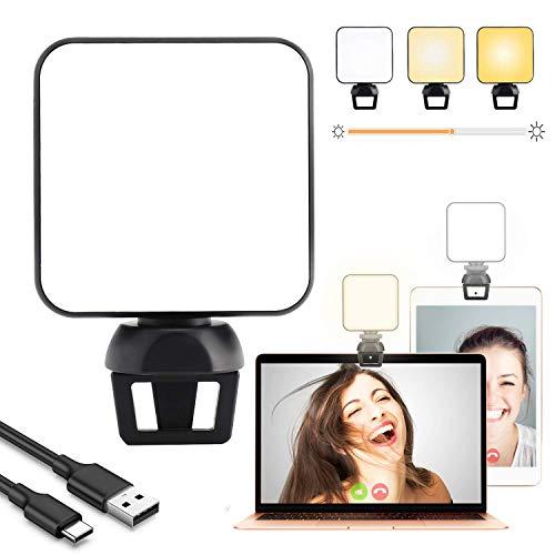 Luce per Videoconferenza, Kit Luci Da Conferenza Luminosità Regolabile Illuminazione Zoom per Laptop per Riunioni Zoom,Lavoro Remoto,Streaming Live per Laptop Telefono con Clip