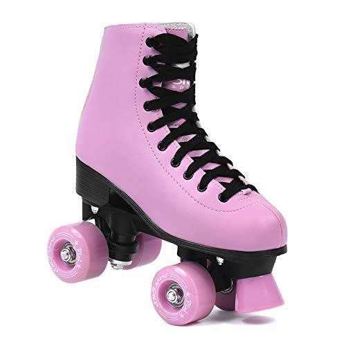 SMJ sport Damen Klassische Retro Rollschuhe | ABEC7 Kugellager | Pink Schwarz Mädchen Classic Roller Skates Inliner Inlineskates | Gr. 35, 36, 37, 38, 39, 40 (35)