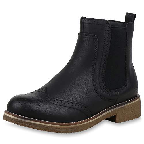 SCARPE VITA Damen Stiefeletten Chelsea Boots Leicht Gefütterte Freizeitschuhe 165411 Schwarz Leicht Gefüttert 41