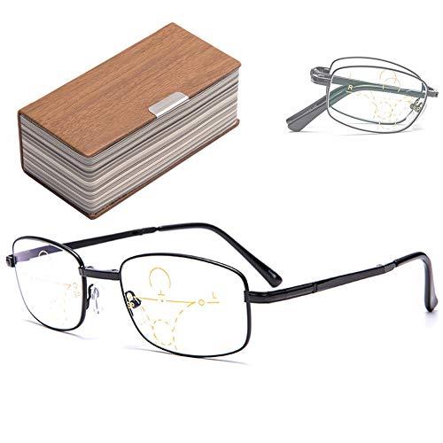 VOCD leesbril kleurverandering Progressive Multifocusbril Smart Near en Dual Use Anti-Blue Presbyopie-bril - metaal volledig formaat Unisex