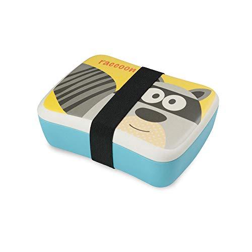 BIOZOYG Kinder Bento Lunchbox aus Bambus I Brotdose mit extra Snack Box I Mädchen und Junge Motiv Brotbox - Waschbär für Kindergarten I Lunch Set to Go BPA frei und 100% lebensmittelecht