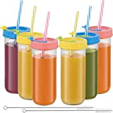 Glass Drinking Bottle Travel Drinking Jars 6 Pack, 16oz Mason Jars Regular Mouth Beverage Bottle with Airtight Lids &Straws, Reusable Water Bottle Skinny Tumbler for Juice/Smoothies,/Kombucha/Tea/Milk