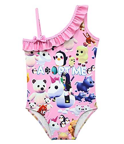 Toddler Girls Adopt Me Bikini Novetly One Piece Ruffle Tankini Sets Fashion Anime Print Beach Sport Bathing Suits Adjustable 1-Shoulder Halter Summer Hawaiian Beachwear Swimsuit 4-5T Crystal Pink