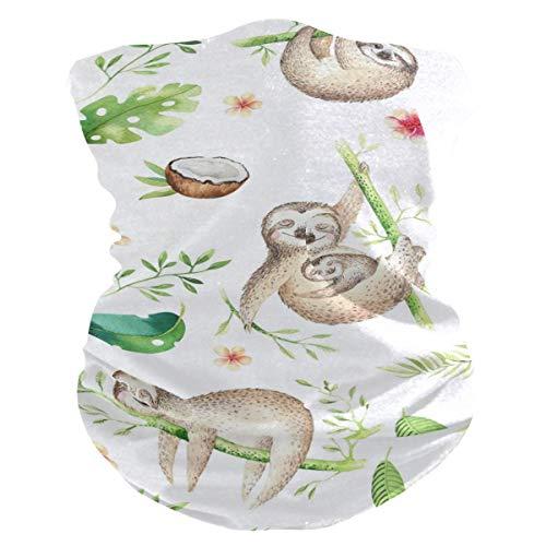 Diadema con diseño de hojas de coco, diseño de perezosos para la cara, protección solar UV, máscara para el cuello, bufanda mágica, bandana para la cabeza, pasamontañas para mujeres y hombres