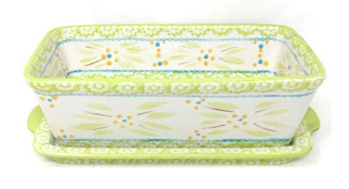 Temp-tations Loaf Pan w/Lid-it(Tray), 1.0 Quart, 8' x 4.5', Stoneware (Old World Lime)