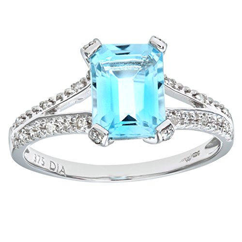 Naava Women's 9 ct White Gold Emerald Cut Blue Topaz Ring With Diamond Shoulders