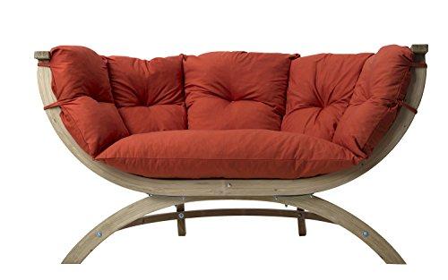 AMAZONAS Lounge Sofa Siena Due Terracotta aus FSC Fichtenholz ca. 170 x 95 x 65 cm bis 250 kg in Dunkelrot