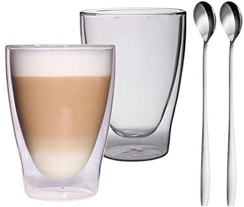 Feelino 2x 300ml XL doppelwandige Latte Macchiato Gläser + 2x L...