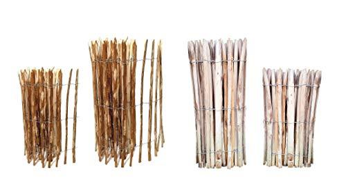 Staketenzaun Edelkastanie 120 x 500 cm (Lattenabstand 4-5 cm) - Staketen Roll Zaun Kastanie - Garten Kastanienzaun Natur
