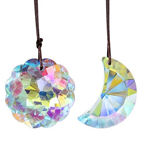 HDCRYSTALGIFTS Bunte hängende Kristalle Anhänger Mandala Anhänger und Halbmond Anhänger für Fenster Ornament Sonnenfänger Kronleuchter Regenbogen Maker