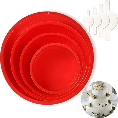 4 Pieces Round Cake Pans with 80 Pieces Parchment Paper Silicone Molds for Baking, Nonstick and Quick Release Baking Pans for Layer Cake, Cheese Cake and Chiffon Cake, 4, 6, 8, 10 Inch Cake Pan