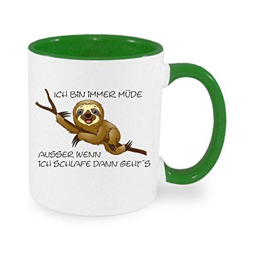 Creativ Deluxe Ich Bin Immer müde, ausser wenn ich schlafe dann geht´s Kaffeetasse mit Motiv, Bedruckte Tasse mit Sprüchen oder Bildern - auch individuelle Gestaltung nach Kundenwunsch