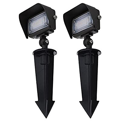 """MarsLG Series-7 Low Voltage Compact 12W LED Landscape Flood Light with 1/2"""" Threaded Knuckle Mount, Ground Stake, and Glare Shield, 36FL01-P"""