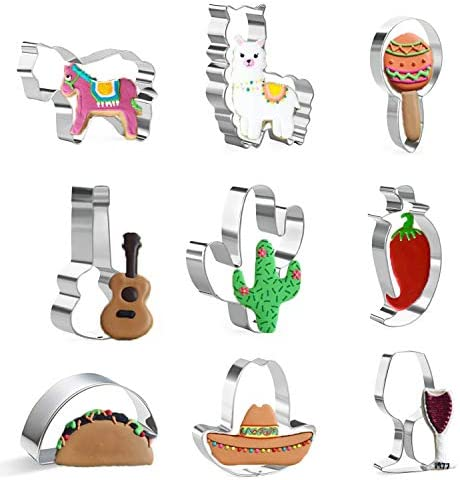 KAISHANE Cinco de Mayo Cookie Cutter Set 9 Pieces Stainless Steel Cookie Cutters Donkey Cactus product image