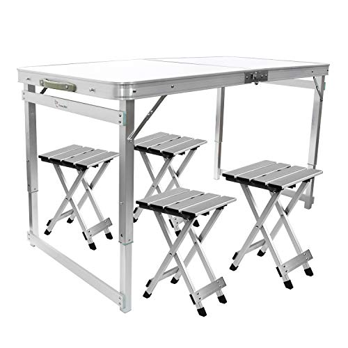 FrenzyBird Folding Picnic Table with 4 Stools, Aluminum Table Chair Set for up to 4 Persons, Portable Lightweight and Heights Adjustable for Outdoor Camping Dining BBQ Party