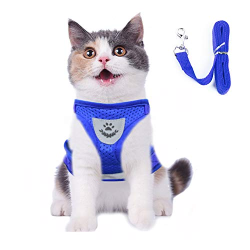 Cat Harness and Leash Escape Proof and Dog Harness Adjustable Soft Mesh Vest Harness for Walking with Reflective Strap for Pet Kitten Puppy Rabbit (M, Blue)