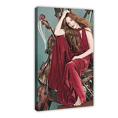 American Film And Television Attrice Julianne Moore 10 poster di tela di canapa decorazione della camera da letto Sport Paesaggio Ufficio Decorazione Camera Regalo 60 × 90 cm Frame-style1