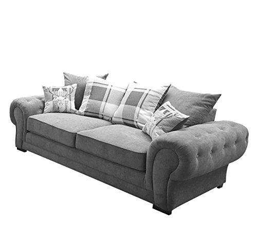 Dorado Corner Sofa Sectional 3 Seater 2 Seater Armchair Cuddle Chair Grey Velour Fabric (Grey, 3 Seater)