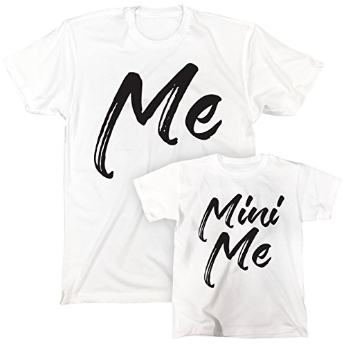 Me and Mini Me Father Son Mother Daughter T-Shirt Set (Large - 2T, White)