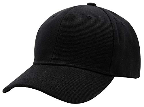 Baseball Cap Men Women - Adjustable Plain Sports Fashion Quality Hat, BLK