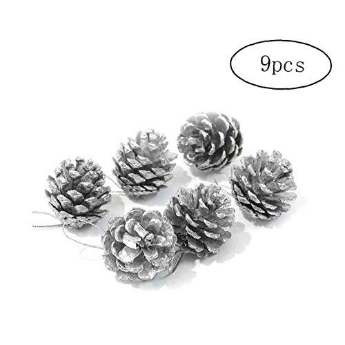 9pcs Colgante De La Navidad Suministros Piña Adornos Partido De Los Ornamentos del Árbol De Navidad (Plata)