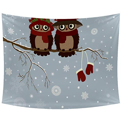 Anmarco Pareja de búhos en invierno ramas de nieve para colgar en la pared, decoración del hogar, decoración de pared, para sala de estar, dormitorio, 201,2 x 132,4 cm
