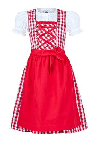 potente para casa Isatrachten vestido tradicional tirolés para niñas, cuadros rojos y blancos, 3 rojos 104 cm