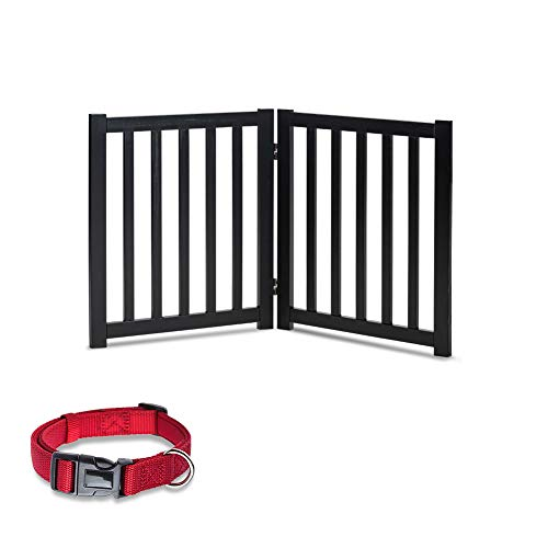 LZRS Oak Wood Foldable Pet GateWooden Dog GateCat GatePet Gate with Pet Collar for House Doorway StairsFreestanding Gate Safety Fence,2 Panel 24quotBlack
