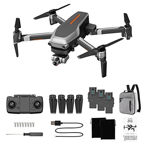 Greatangle-UK L109 Pro GPS Drone WiFi FPV 4K Cámara 2.4Ghz 4CH Cuadricóptero RC sin escobillas con cardán de 2 Ejes Antivibración con transmisor Gris 3 * baterías
