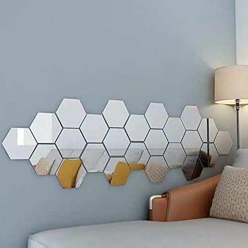 CYendy Pegatinas de Pared de Espejo hexagonales Autoadhesivas adecuadas para la decoración de la Pared del sofá de la Sala de Estar Familiar (Plateado) 24 Piezas (126 x 110 x 63 cm)