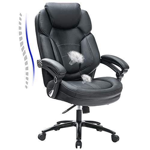 KCREAM Großer und großer ergonomischer Computertisch-Stuhl Executive Office Chair, Computerstuhl mit dick gepolsterter Armlehne und Lendenwirbelstütze Bonded Leather Chair für Home & Office