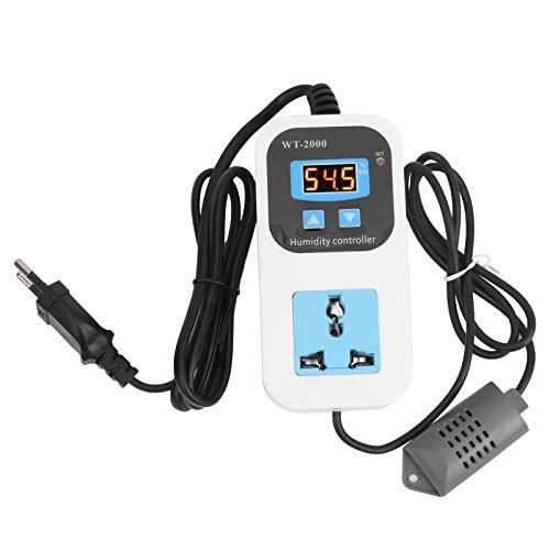 Controlador de Humedad Digital, 0% ~ 99% RH Enchufe del Interruptor de Deshumidificación de Humidificación para Detectar Humedad en Almacenes de Almacenamiento WT ‑ 2000 110‑220V(EU Plug)