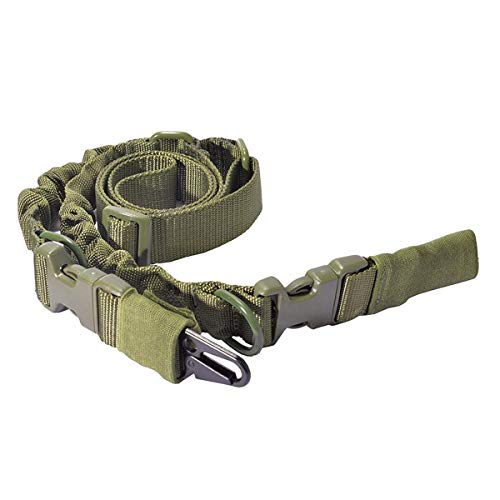 WOLTIS Two Point Gun Sling, Adjustable Bungee Rifle Sling Strap Military Tactical QD Quick Detach Sling with Hook for Outdoor Hunting Shooting Green