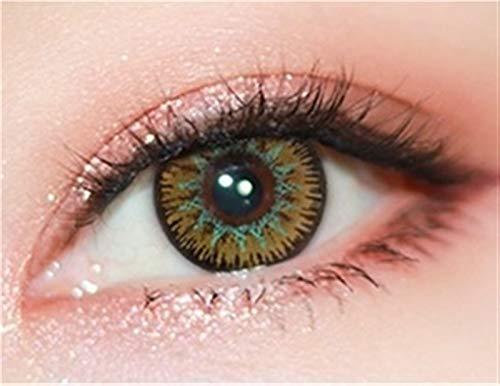 HOWWO Lenti a Contatto Colorate Colore delle Lenti for Gli Occhi Colorful Cosmetic Cosplay con Weijia Series, 0.00 diottrie Lente a Contatto (Colore : Golden Brown, Taglia : 0)