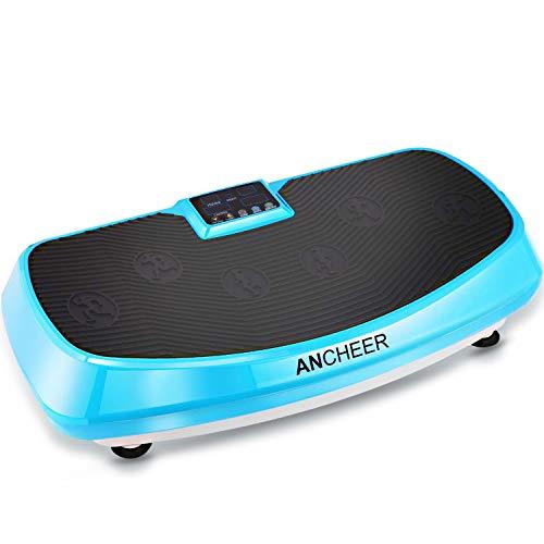 ANCHEER Fitness Vibrationsplatte 4D mit 2 Motoren, Ganzkörper Training Vibrationsboard Shaper mit Mehrere Geschwindigkeiten & Modi, Trainingsbänder (Blue)