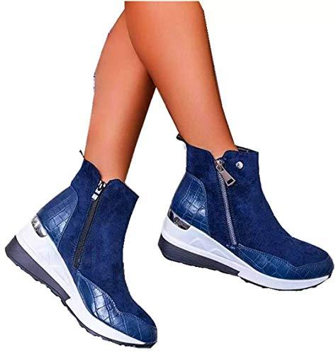 DaYee Cómodo: Zapatos ortopédicos Elegantes y Extremadamente Suaves, Botines cálidos de Invierno Informales para Mujer, Zapatos de cuña con Cremallera de tacón Medio para Mujer (39,Blue)