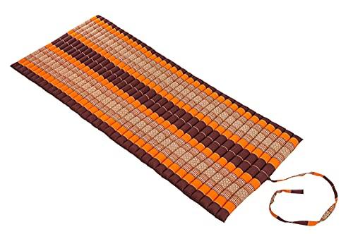 Roll-Up Mat 80 x 200 cm Thai Mat Cojín de yoga naranja marrón con acolchado de kapok