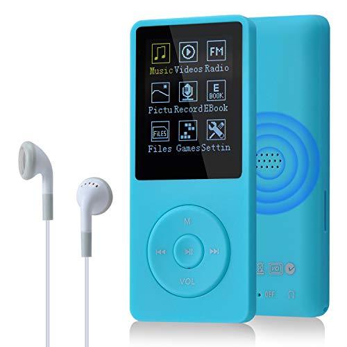 COVVY Slim Reproductor de música 8 GB portátil sin pérdida de Sonido de 70 Horas de Pantalla Reproductor de MP3 hasta 64 GB (Azul Claro)