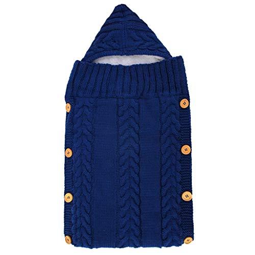 Coversolate Stricken Babyschlafsack mit Kapuze Schlafsack mit Knopf Verdicken Warme Winterschlafsack für Kinderwagen Babyschale