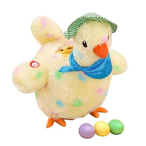Frotox Juguete eléctrico para Poner Huevos de gallina, Sonido Realista para Cantar y oscilante, gallina para Poner Huevos, Juguete de Pollo de Peluche para niños bebés