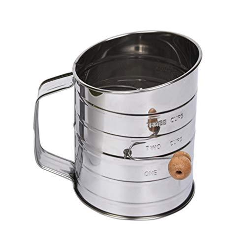 Mehlsieb Hand-Back-Shaker Sieb Cup Mesh Crank Mehlsieb mit Deckel ungiftig manuelle K/üchenwerkzeug f/ür Mehl Puderzucker