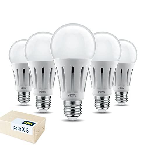 DYA SET 5 LAMPADINE - GOCCIA LED A60 - ATTACCO E27-18W EQUIVALENTI A 140W - 2000 LUMEN - LUCE NATURALE 4000K