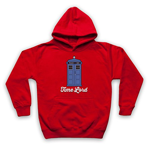 Inspirado por Dr Who Time Lord Tardis No Oficial Niños Sudadera con Capucha, Rojo, 5-6 Años