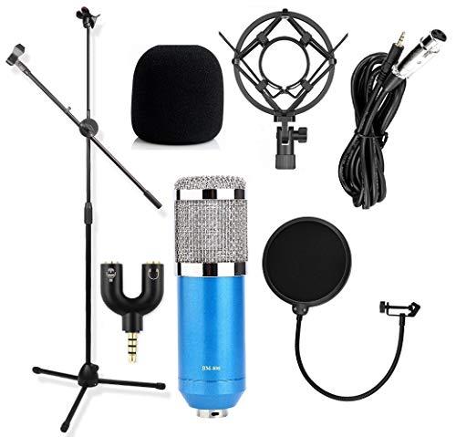 Techtest Bm 800 Condenser Microphone Pop Filter Windshield Studio Mic Stand Broadcast Recording Boom Arm Floor Type for Voice Singing Mike Song Kit & 3.5 Mm Jack Splitter