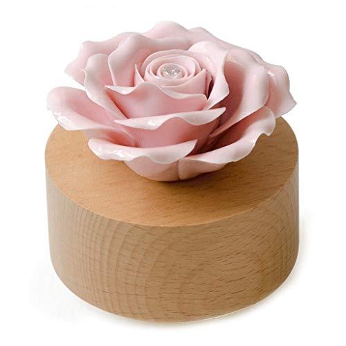 Logo Recuerdos de la Infancia Caja de música Día de Regalo de cerámica Rose giratoria Caja de música de Gran Regalo/Navidad/cumpleaños/día de San Valentín día de San Valentín